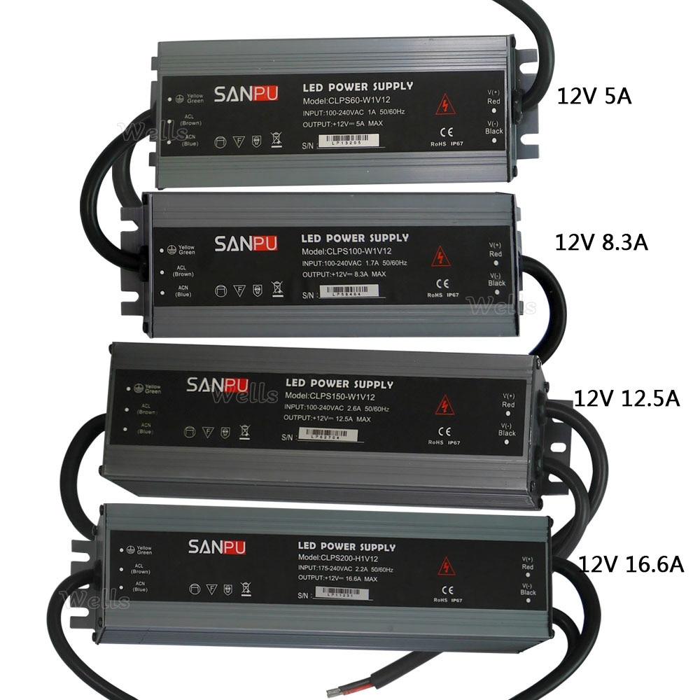LED ultra-Delgado resistente al agua fuente de alimentación IP67 DC12V transformador 60 W/100 W/120 W/150 w/200 W led controlador de led de tira