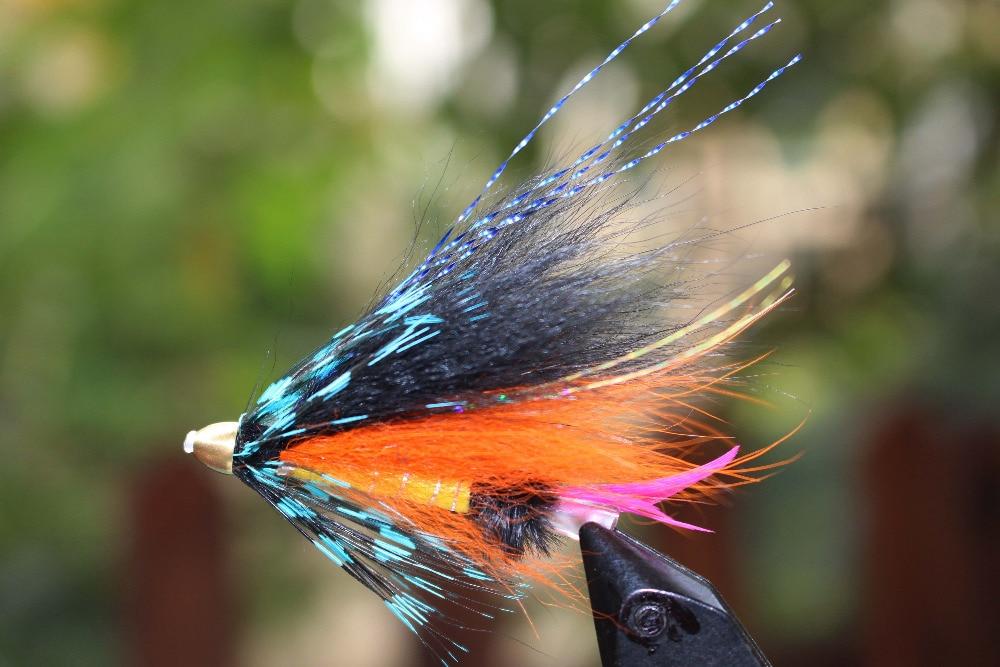 Tigofly 24 Pcs Beautiful Blue&Black Feather Cone Head Tube Flies Salmon Trout Steelhead Fly Fishing Flies Lures