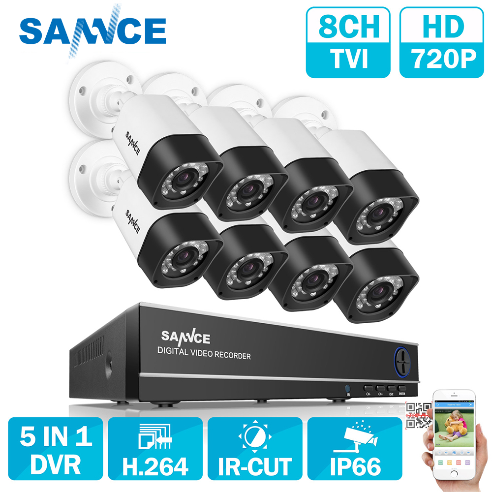 SANNCE 8CH 720P HDMI AHD CCTV DVR 8PCS 1.0 MP IR Outdoor Security Camera 1200 TVL Camera Surveillance System Video CCTV System zosi 8ch cctv system 1080n hdmi tvi cctv dvr 8pcs 720p ir outdoor security camera 1280 tvl camera surveillance system