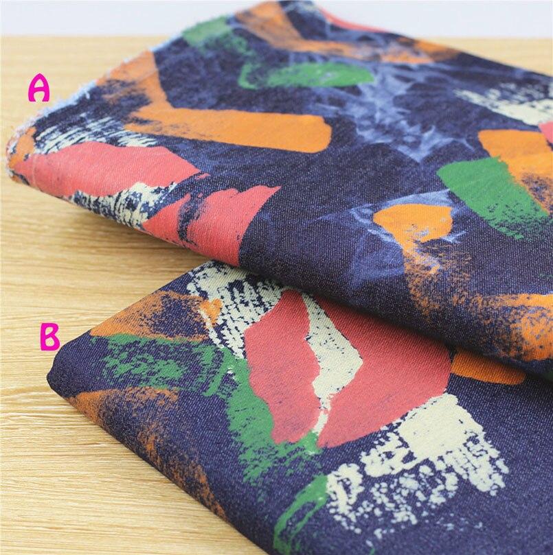 140 * 50cm1pc Denim Fabric Sexy 100% bavlněná tkanina Patchwork, červené rty Tisk Soft Stretch Denim Fabric Diy Šicí kalhoty a džíny