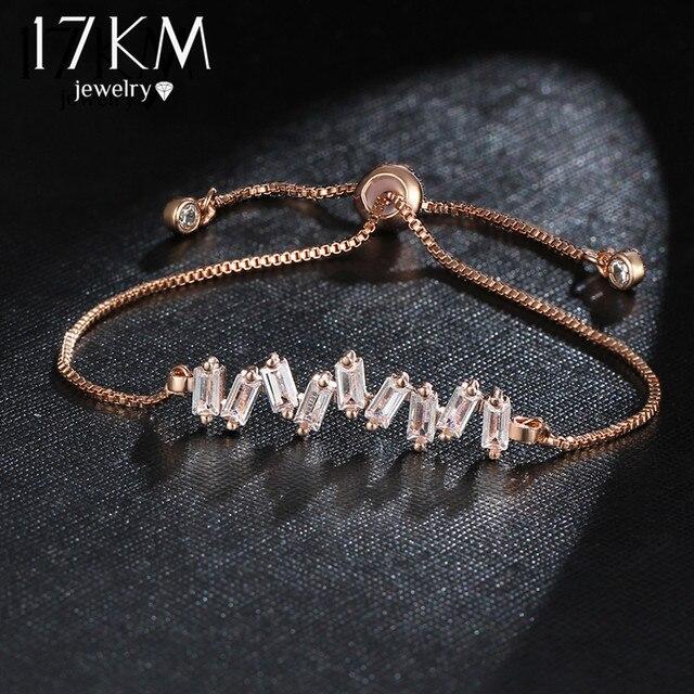 17KM Brand Fashion Flower Cubic Zirconia Charm Bracelet For Women Bangle & Bracelet Pulseras Mujer Female Party Wedding Jewelry
