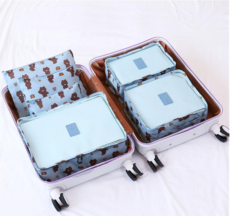 6 Pcs Packing Cube System,Luggage Organizer Set Travel Folding Storage Bag Luggage Clothing Sorting Bags Travel Luggage,Purple