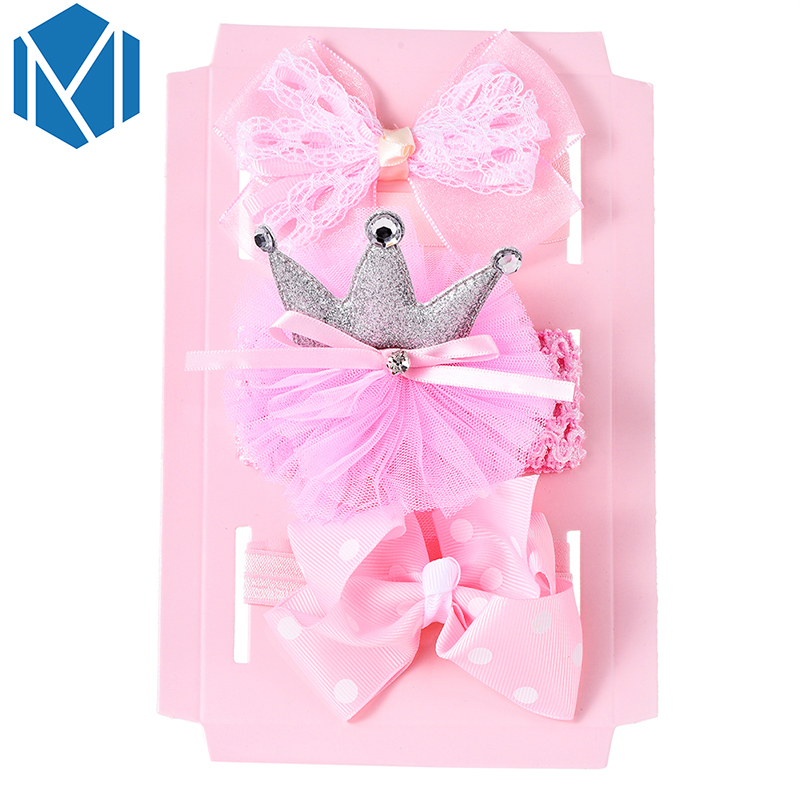 M MISM 3pcs/1 lot Newborn Kids Floral Headband Bow Girls Crown Hair Ropes Toddler Hair Bands Party Bow Hair Tie Hair Accessories