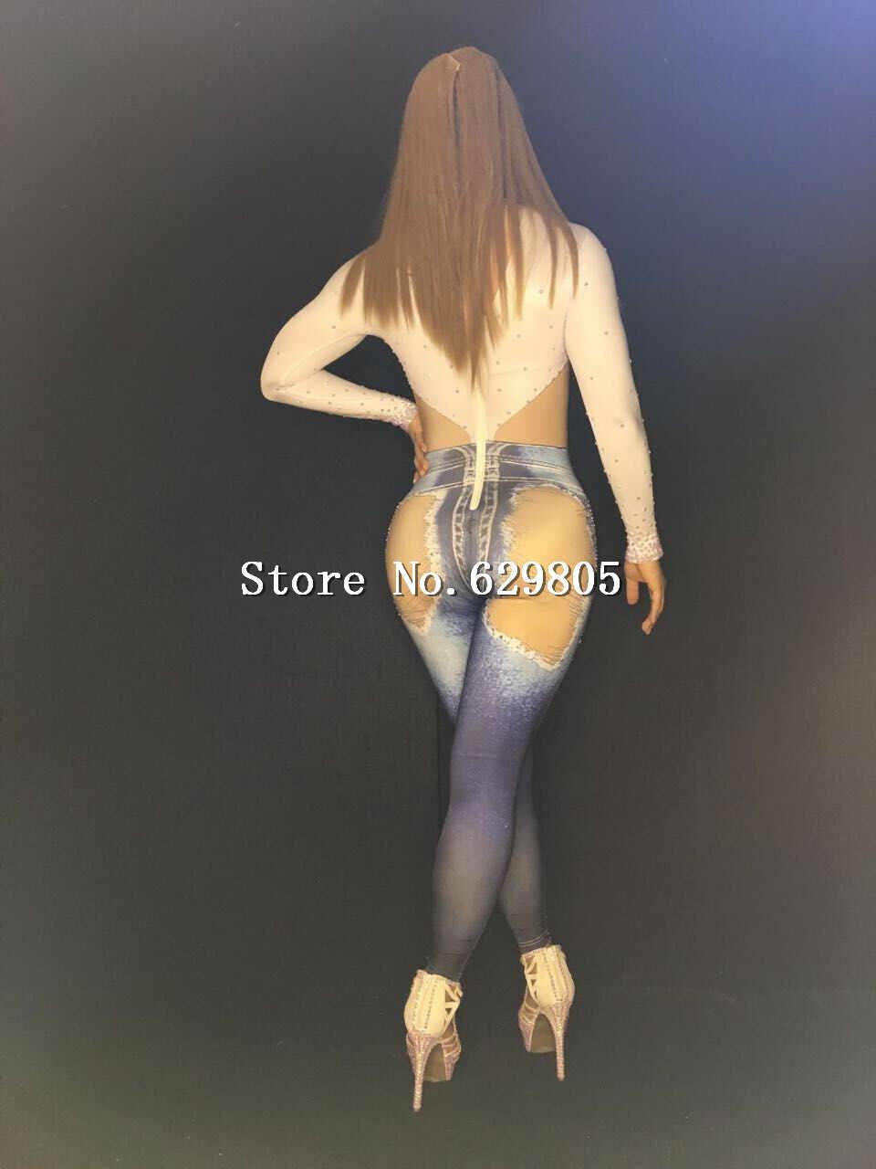 Блестящий Комбинезон со стразами Белый Топ джинсовый костюм женский сексуальный боди джинсы с большими дырами женский наряд для выпускного вечера