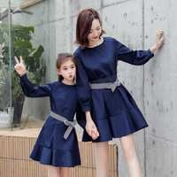 Mother Daughter Dress with Belt Fashion Family Matching Outfits Clothes Mommy and Me Women Girl Dresses Long Sleeve Clothing