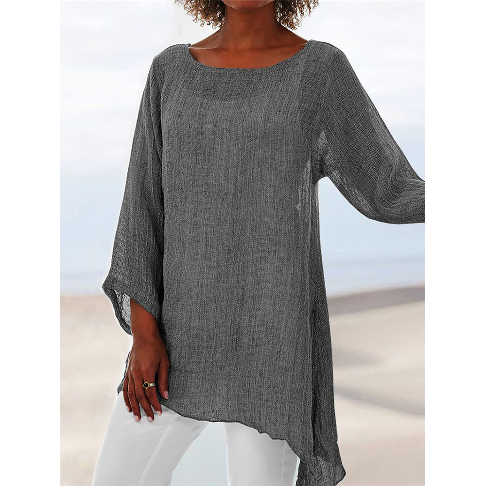 Summer Plus Size Tunic Solid Linen Blouse Pullover Women's O-Neck Long Sleeve Anomalistic Top Casual Loose Shirt Women Clothing