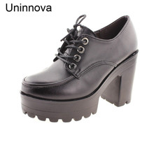 High Platform High Heels Footwear Women's Round Toe Retro Split Leather Lace Up Shoes Office Work Pumps Salto Alto WP045