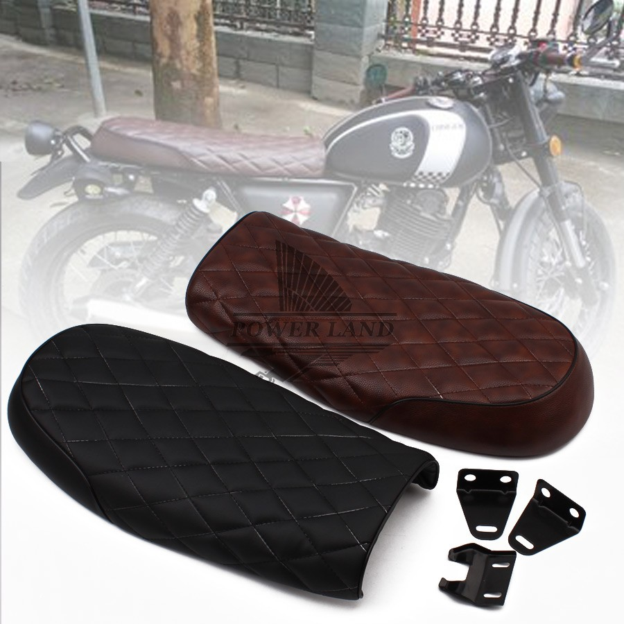 1x Brown/Black Motorcycle Vintage Diamond Seat Cafe Racer Saddle GN CB200 CB350 CB500 CB750 SR400 <font><b>SR500</b></font> XJ Motorcycle Retro Seat image