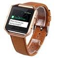 V-MORO Fitbit Banda de Incendio + Estructura de Metal de Cuero Genuino 2 en 1 Reloj Correa Wrsit para Fitbit Blaze Accesorio Banda Marrón café