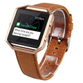 V-MORO Genuine Leather Fitbit Blaze Band +Metal Frame 2 in 1 Watch Wrsit Strap for Fitbit Blaze Accessory Band Brown Coffee