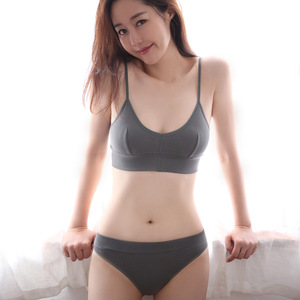 Image 3 - French Bralette Ultra thin Triangle Cup Bra Set Sexy Back Cotton Underwear Fashion Women Bras Panties Set Elasticity Lingerie