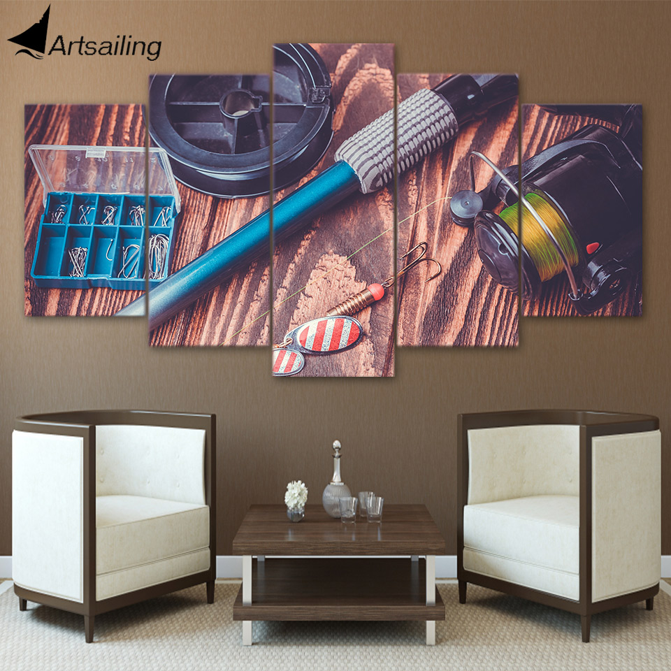 HD Printed 5 Piece Canvas Art Fishing Rod Tools Painting