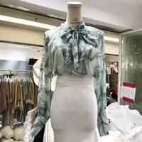 한국 스타일의 셔츠 여성 2018 봄 여름 새로운 패션 긴 소매 쉬폰 블라우스 스카프 칼라 Blusas 소녀 학생 기본