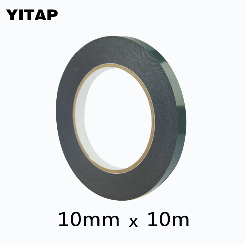 YITAP 10mm*10M*0.5mm Black Sponge Foam Double Sided Adhesive Tape for Cellphone Repair 25mm x 1mm double sided self adhesive shockproof sponge foam tape 10m length
