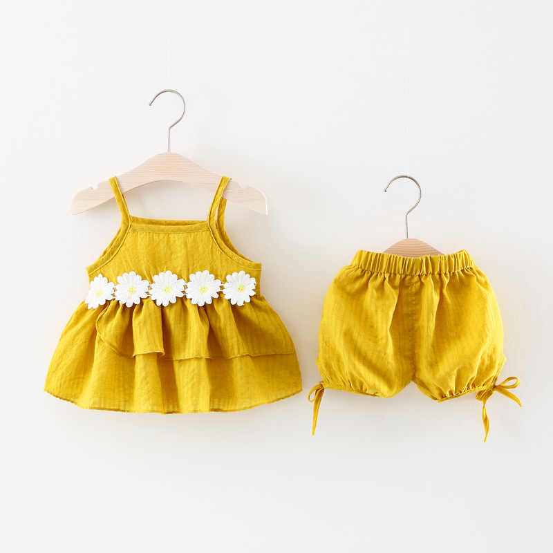 Baby Girl clothes set Baby 9 months -2Y Newborn Summer Flowers Cotton Linen shirt+shorts  Infant for Baby suits