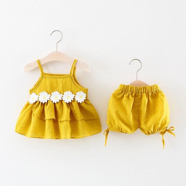 8436b6facac274 Menina roupa do bebê set Bebê 9 meses-2Y Recém-nascidos Flores do Verão  camisa De Linho De Algodão + shorts Infantil para o Bebê ternos