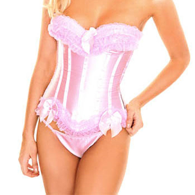 Sexy pink lace corset frete grátis