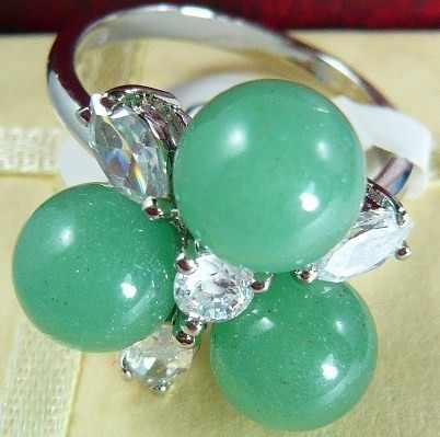 2 สีขายส่งที่สวยงาม 8 มม. 3 สีม่วง/สีเขียวหยกธรรมชาติดอกไม้แหวนแฟชั่น (#7.8.9)