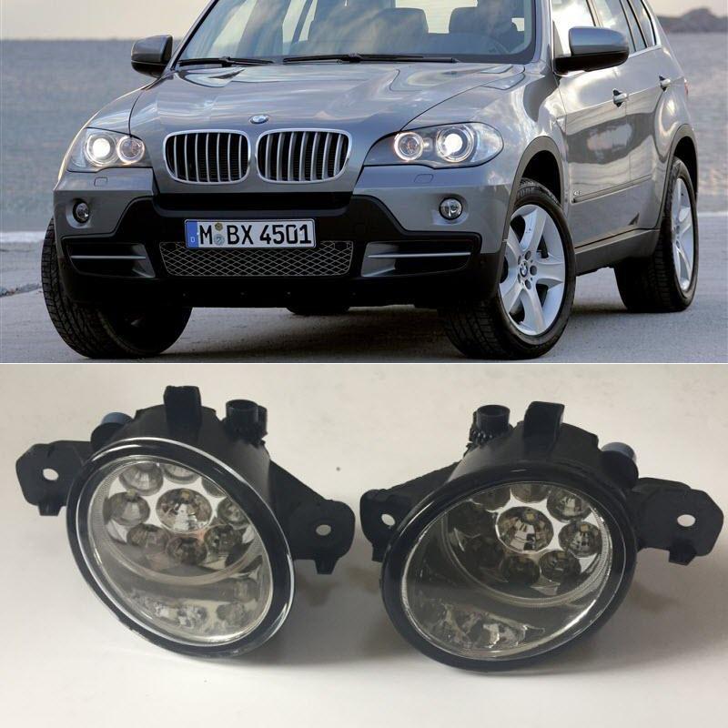 For BMW X5 E70 2007 2008 2009 2010 9-Pieces Leds Fog Lights H8 H11 12V 55W Halogen LED Fog Head Lamp Car-Styling front fog lights for toyota rav4 2006 2008 2009 2010 2011 2012 12v 55w auto lamp bumper car h11 halogen light bulb assembly