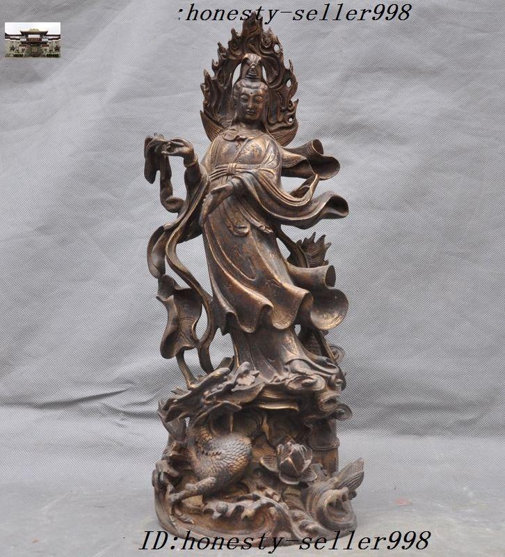 Decorazione di cerimonia nuziale 17 buddismo Cinese Bronzo Dorato drago lotus guanyin bodhisattva kwan-yin statueDecorazione di cerimonia nuziale 17 buddismo Cinese Bronzo Dorato drago lotus guanyin bodhisattva kwan-yin statue