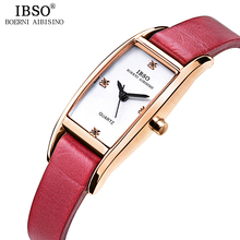 IBSO 7mm Rectangle Ultra thin Ladies Watches Top Brand Luxury Crystal Diamond Leather Strap Women Watches 2018 Relogio Feminino