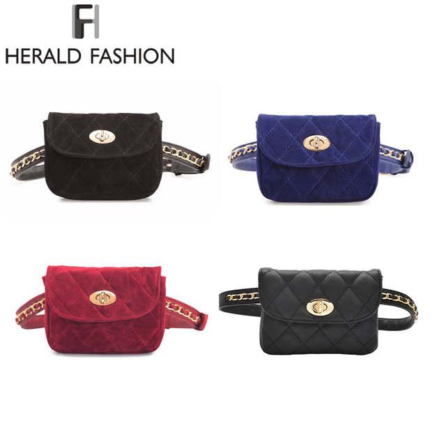 b2342670472 US $10.99 40% OFF|Herald Fashion Lint Women Waist Belt Bag Chain Belt Pack  Waist Bag Plaid Small Women Bag Travel Bag Waist Pack Bolsas-in Waist Packs  ...
