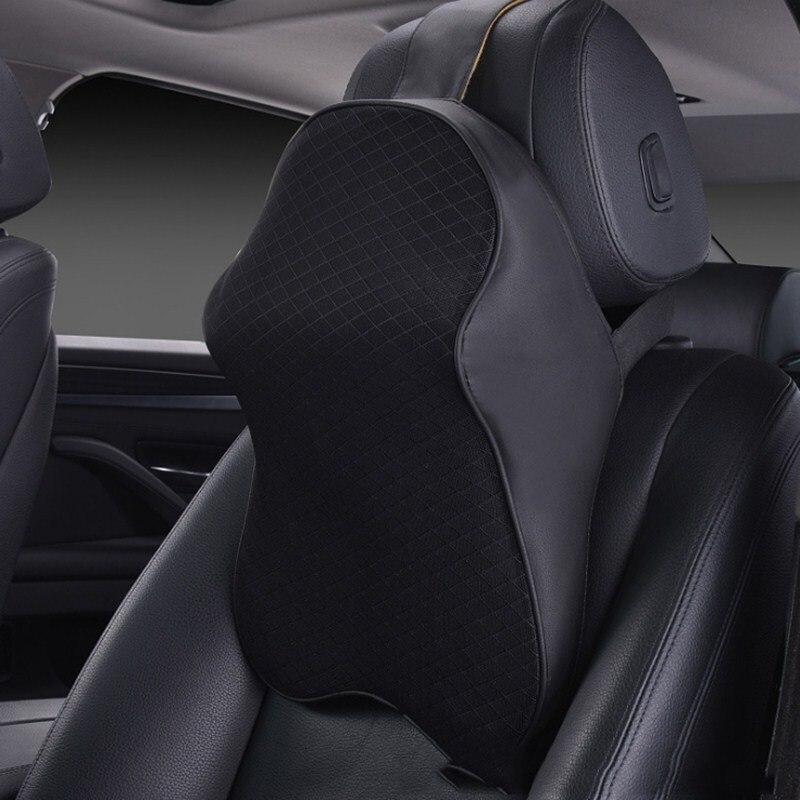 MALUOKASA 3D Space Memory Foam Car Neck Pillow Head Restraint in The Car Headrest Pillow Automobile Auto Neck Pillow Leather