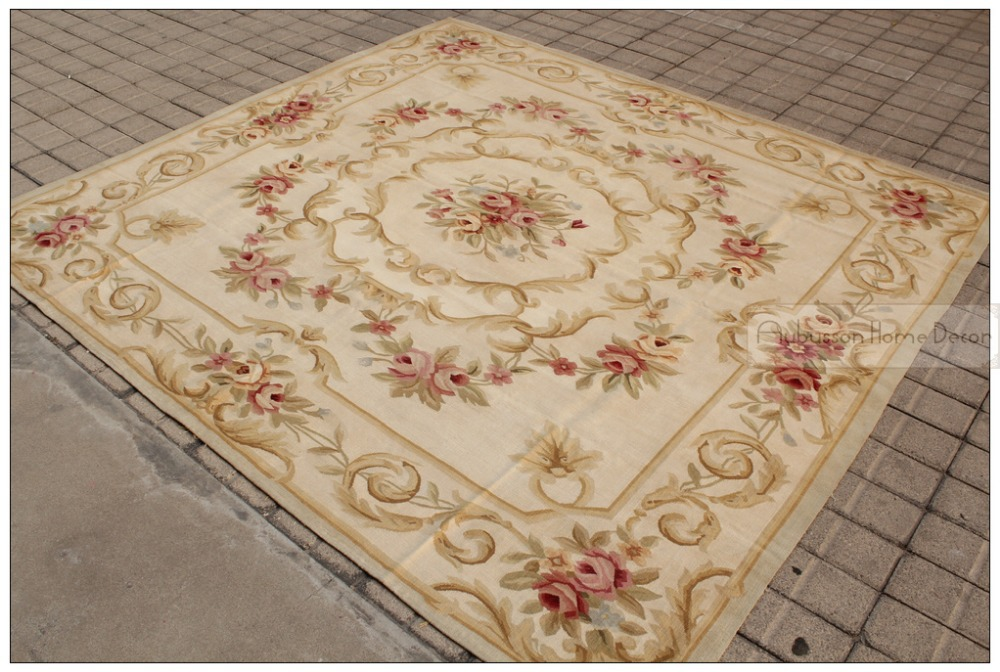 High Quality New 7x7 Square Antique French Decor Aubusson Area Rug Pastel Country Home  Free Ship   Square