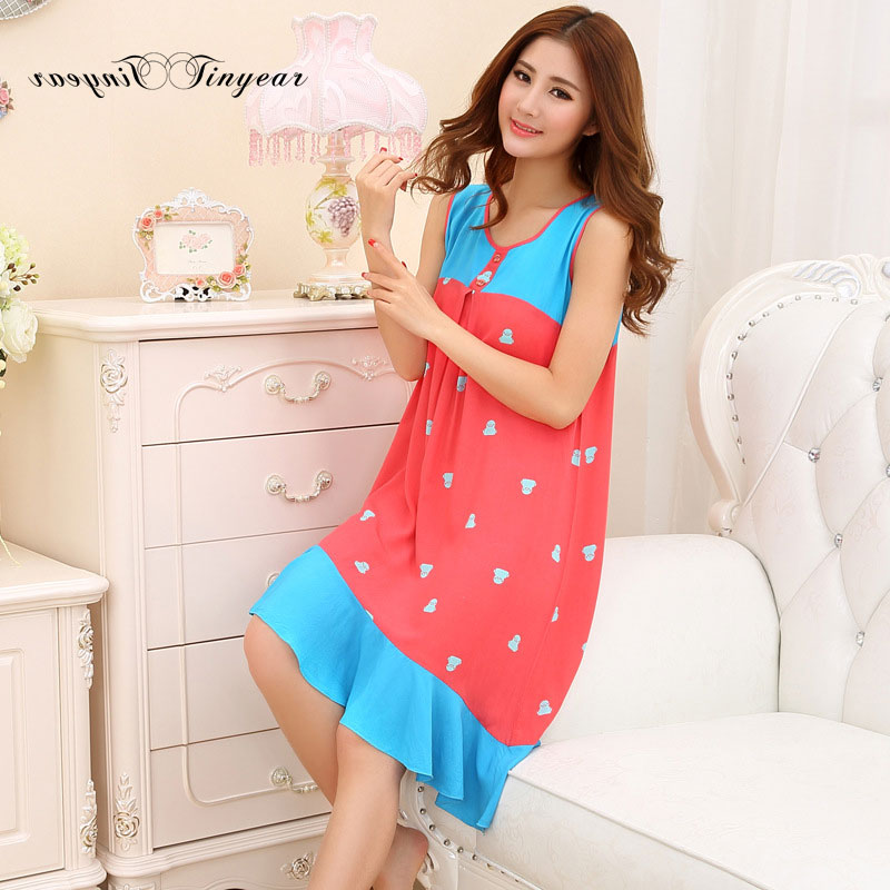 d3156fc5df 2016 Cheap price women nightdress sleeveless polka dot round neck plus size  nightgowns summer robe de chambre femmes nuit-in Nightgowns & Sleepshirts  from ...