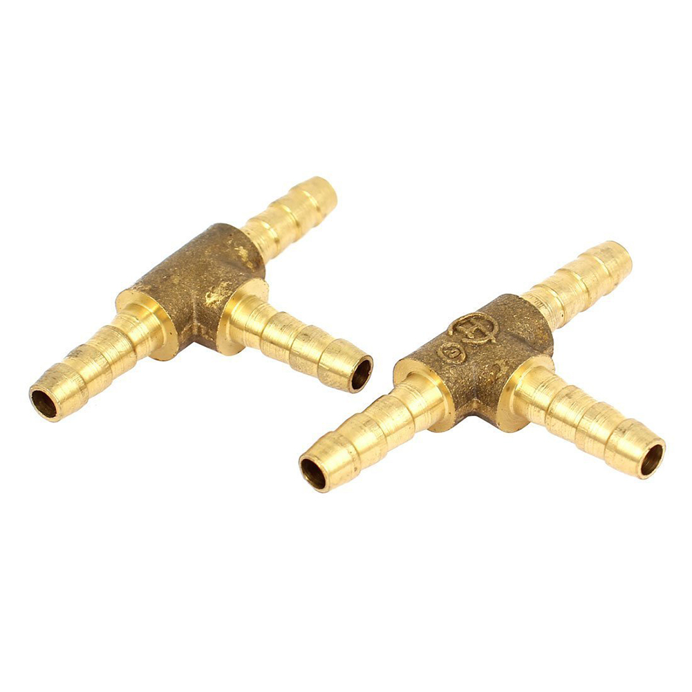 2pcs Air Fuel Water 3 Way Brass Tee T Fitting Hose Barb Connector in Pipe Fittings from Home Improvement