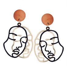 RE picasso face abstract art asymmetric metal hollow double human earrings for women figure dangle earring jewelry J15