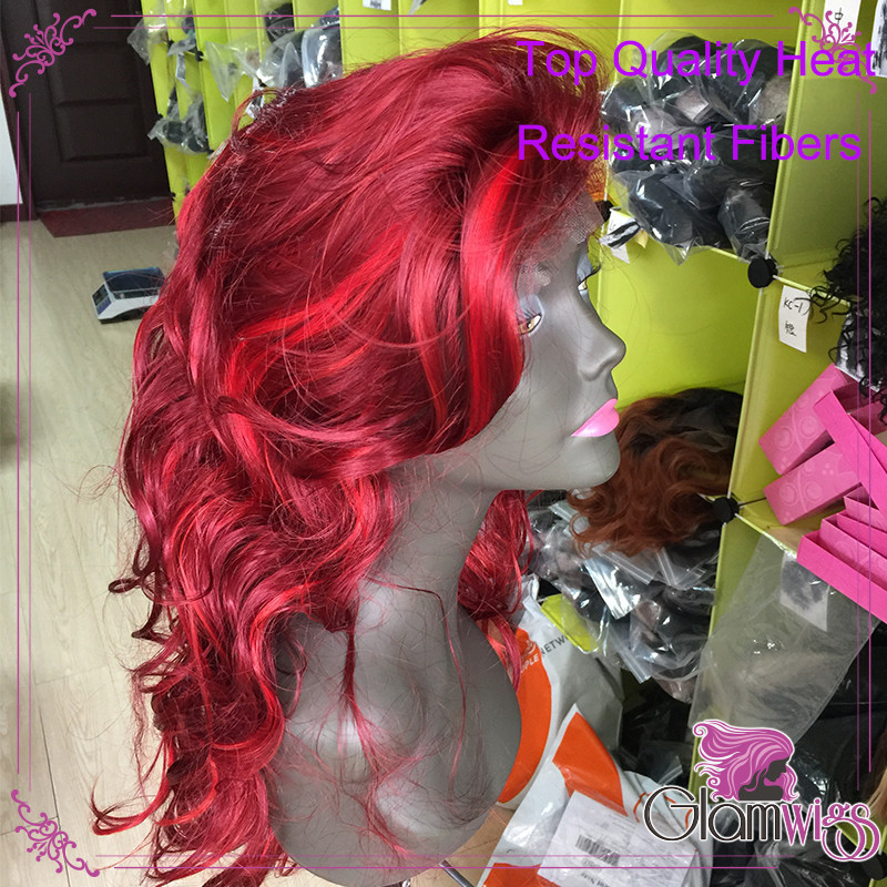 Wine Red With Bright Red Highlights Synthetic Lace Front Wig Body Wave Glueless 99J Heat Resistant Fiber Glueless Lace Wig 3