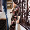 Satin Velvet Chinese Traditional Cheongsam Wedding Evening Wrap Dress Full-Length High-slit Floral Qipao QP50