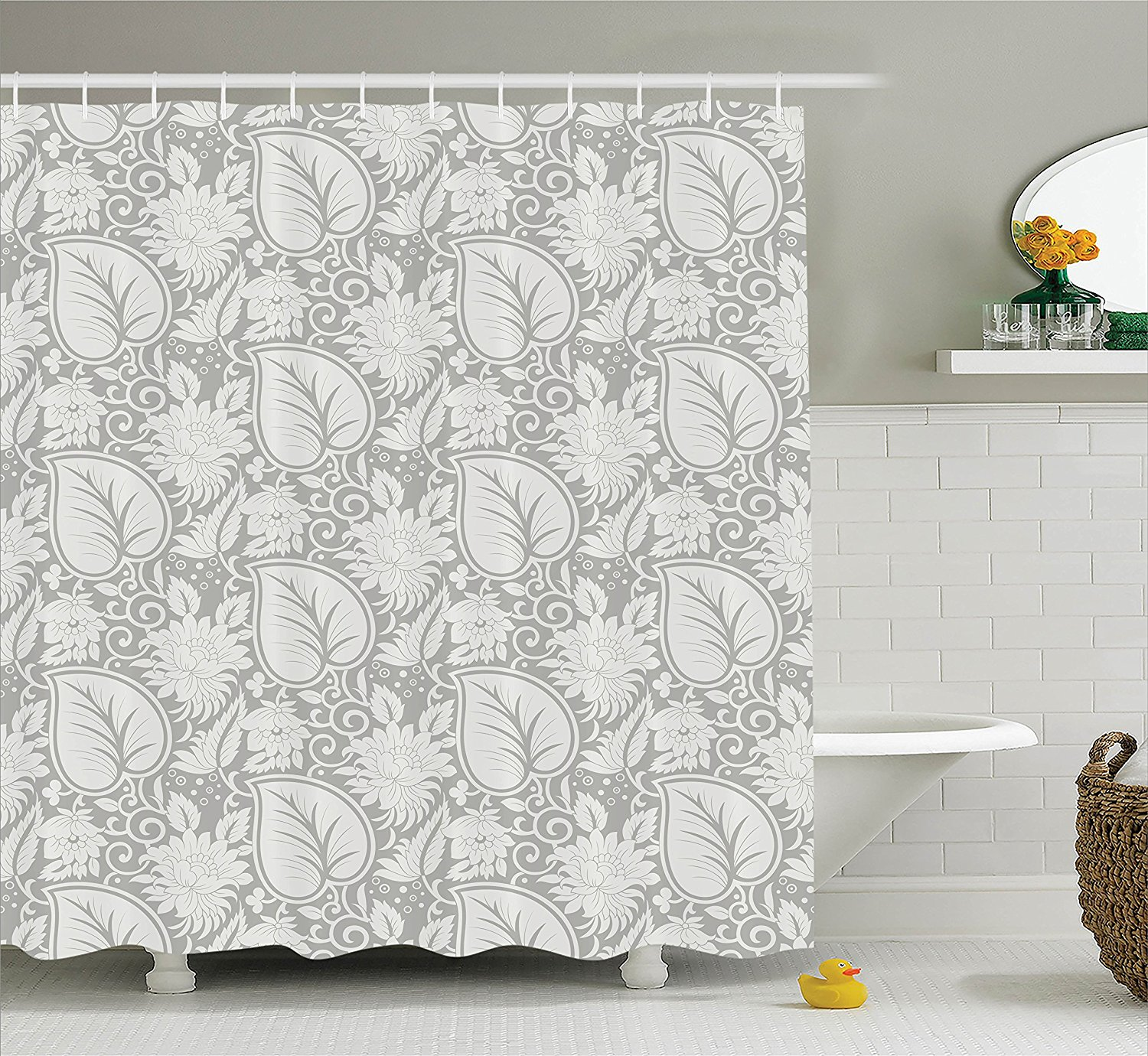Grey Shower Curtain Big Leaves On Old Fashion Floral ...