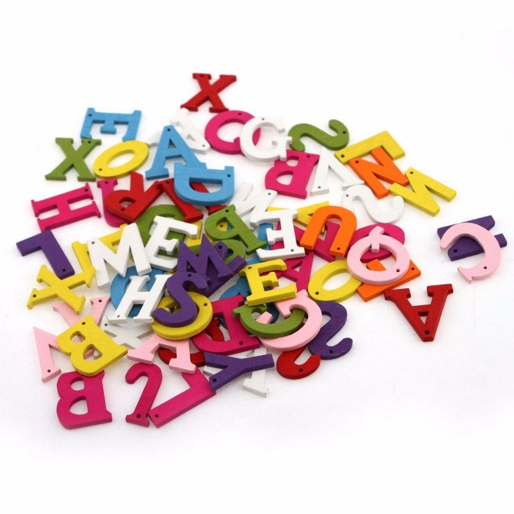 How to scrapbook letters - 100pcs Set New Scrapbook Scrapbooking Decorative Accessories 2015 Fashion 26 Letters Mix Wooden Buttons For