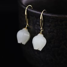 Gold Natural Hetian Stone Tolips Floral Drop Earrings
