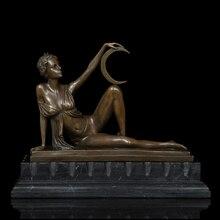 Художественных промыслов Медь статуя Сексуальная Belle фигурка Ремесленная для Дизайн и Декор Рисунок статуи, скульптуры Luna богиня луны