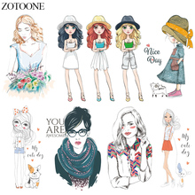 ZOTOONE Fashion Patch Iron On Transfers Girl Patches For Clothing Heat Transfer Vinyl Sticker Clothes DIY T-shirt Dresses E