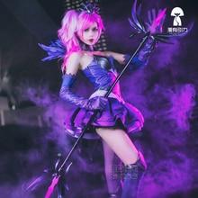 Game LOL Luxanna cos Elementalist Lux Dark Element Skin Cosplay Costume Women dress