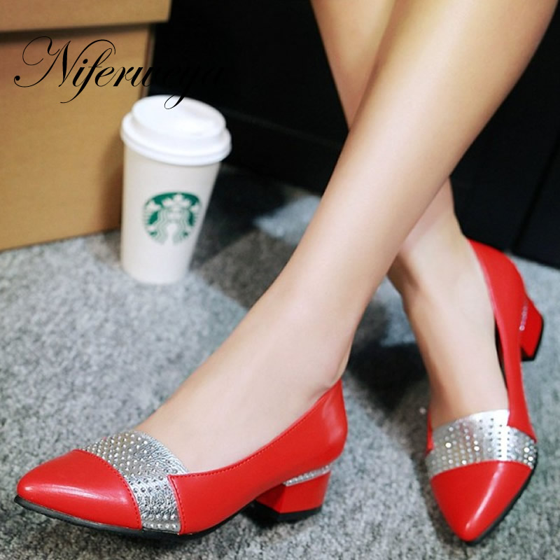 Big size 31-48 Spring/Autumn women shoes fashion Pointed Toe ladies pumps Rhinestone decoration Slip-On low heels zapatos mujer red spring autumn women s low heel pumps flock plain pointed toe shallow slip on ladies casual single shoes zapatos mujer black
