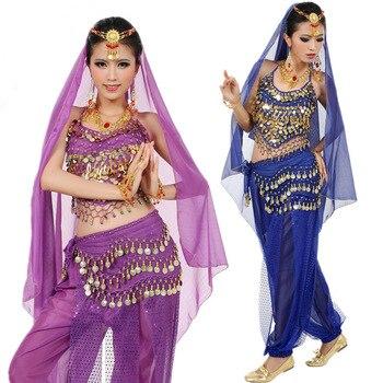 2019 новейший Болливуд Индийский танец живота костюмы для женщин Дешевые цены 5 шт. Комплект топ + брюки пояс Вуаль головной убор