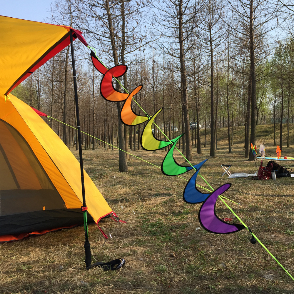 Children Classic Toys Colorful Camping Foldable Rainbow Spiral Windmill Wind Spinner Toy Decoration for Tent Hot Air Balloon