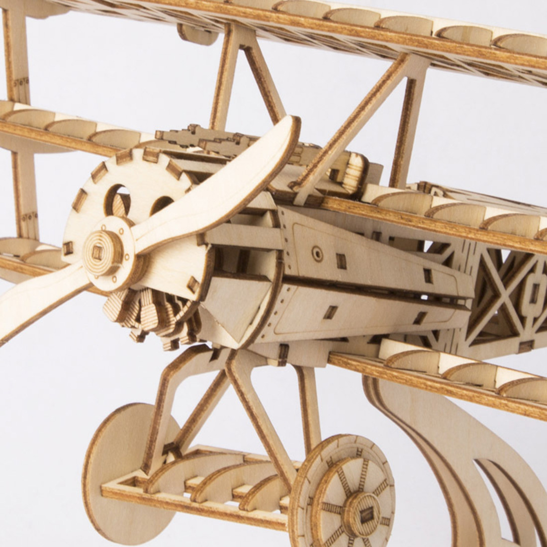 3D Movement Assembled Wooden Painting DIY Laser Cutting Model Steam Stem Toys - Bi-Plane image