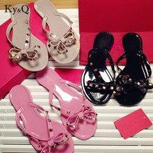 397f848a1bbbd Brands Women Rivets Bow knot Flat Slippers sandals Girls Flip Flops studded  Summer Shoes Cool Beach