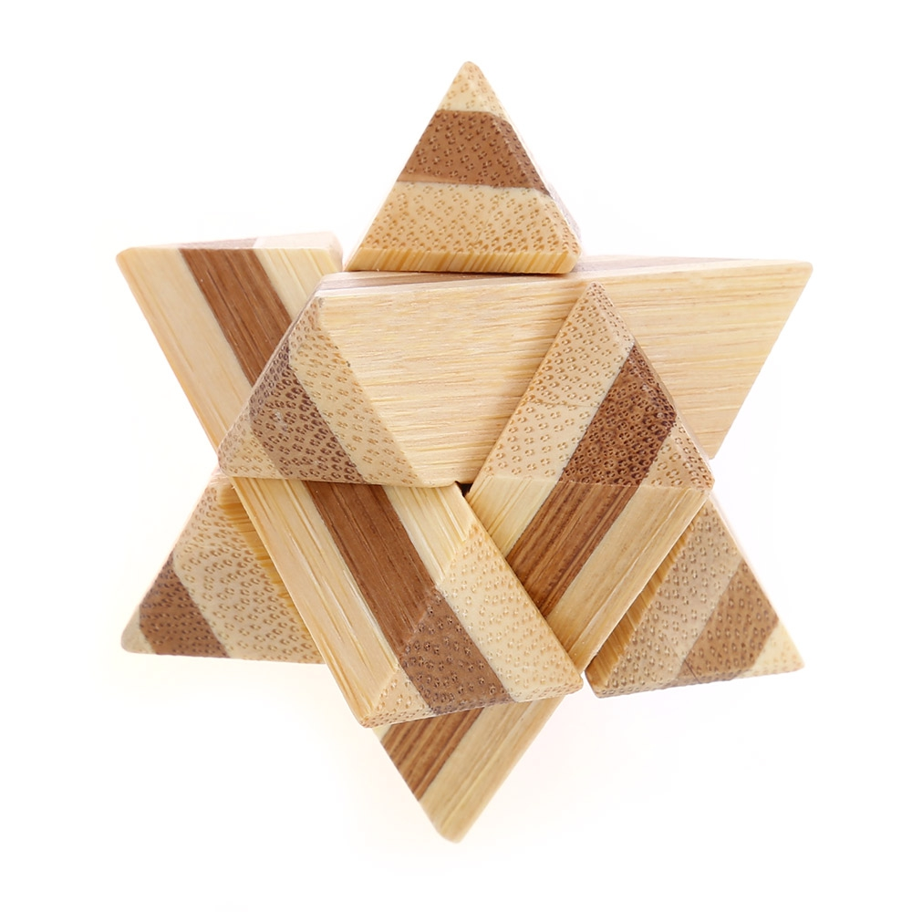 3D Interlocking Star Wooden Burr Puzzle Kong Ming IQ Brain