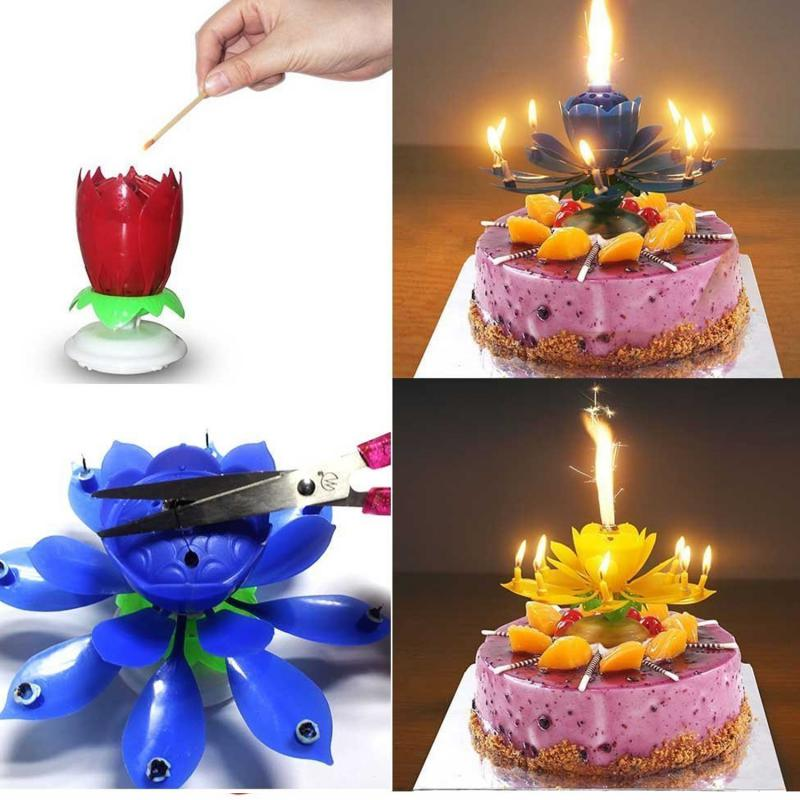 4pcs New Flower Decorative Candles Amazing Romantic Musical Lotus Rotating Happy Birthday Wedding Candles For Cake Decoration