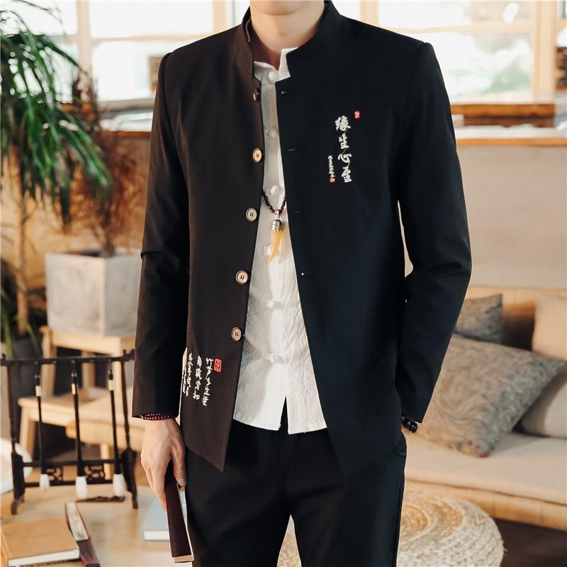 2019 nouveau noir hommes col montant costumes classique broderie hommes Blazer veste et pantalon à lacets asiatique taille 4XL Slim Fit costumes homme