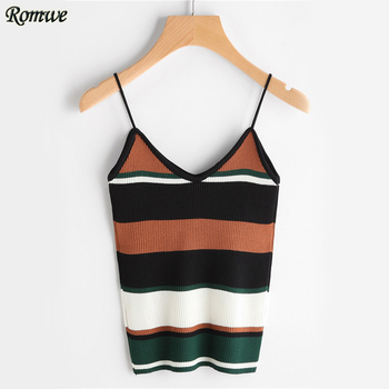 ROMWE Color Block Stripe Cami Top Casual Ribbed Camisole Women Sexy Strap Summer Tops 2017 Fashion Holiday Slim Basic Camisole Top
