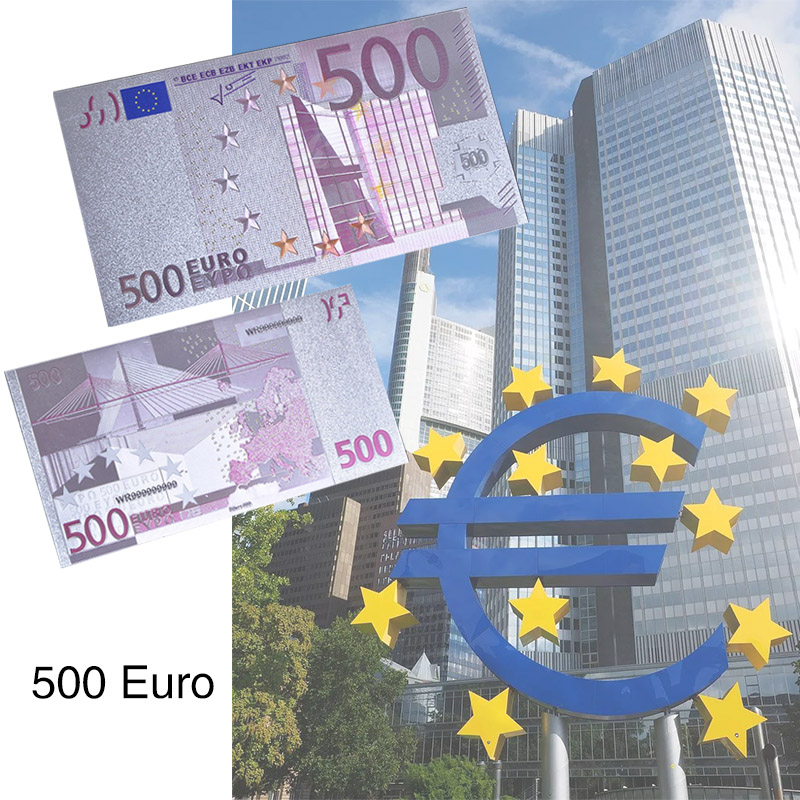 WR Colored Euro 500 Fake Banknotes Silver Foil Euro Banknote Bill Paper Money Collection Banknotes for Souvenir Gift Dropshiping