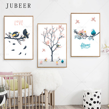 Cute Cartoon Bird  Wall Art Canvas Posters Nursery Nordic Style Painting Animal Tree Wall Picture Baby Children Room Decoration